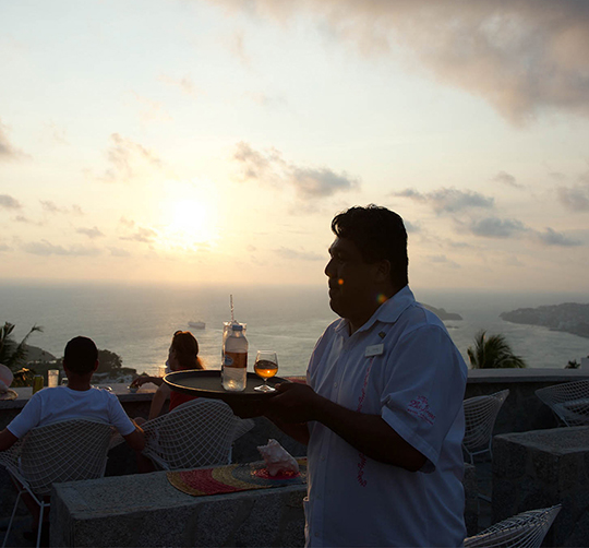 Waiter at Las Brisas Acapulco hotel